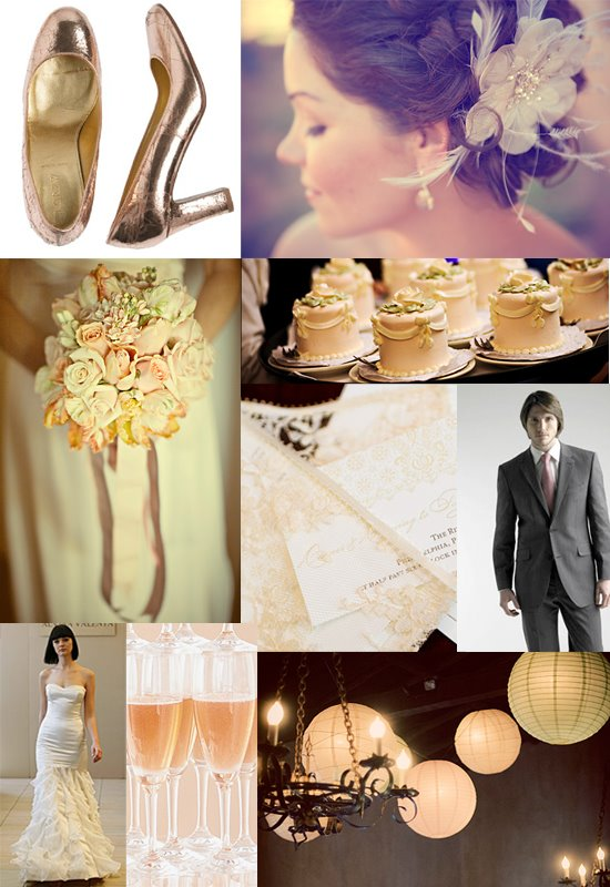 metallic pink wedding board