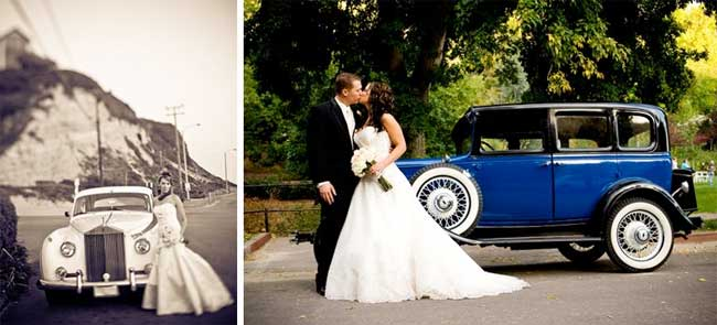 Vintage Cars and Wedding Photos