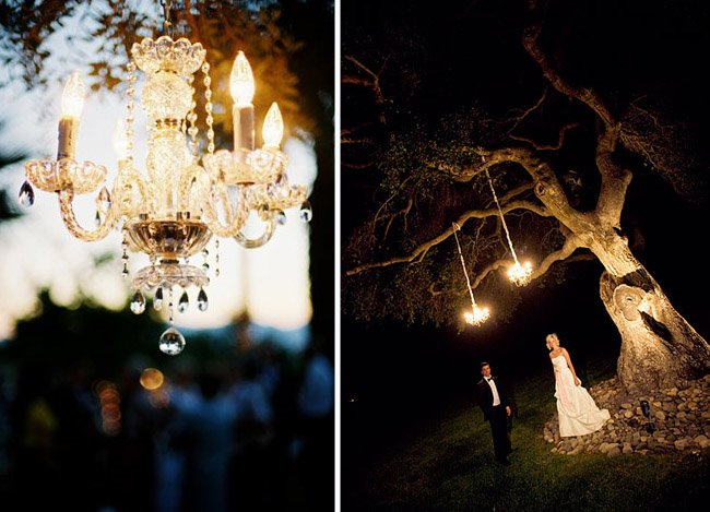 Modern Rustic Chandeliers in Trees & Tents… | Green Wedding Shoes ...