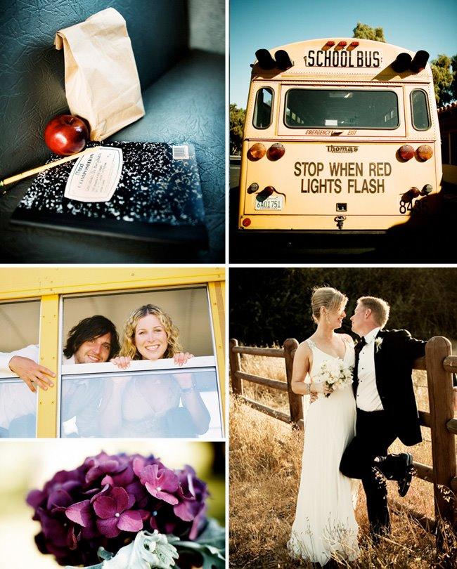 school bus wedding