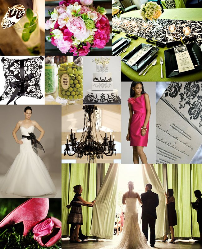 Green Wedding Ideas: Damask, Pink + Green Wedding!