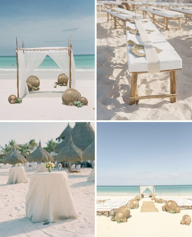 Rustic beach wedding inspiration green wedding shoes for Cheap beach decorations for the home