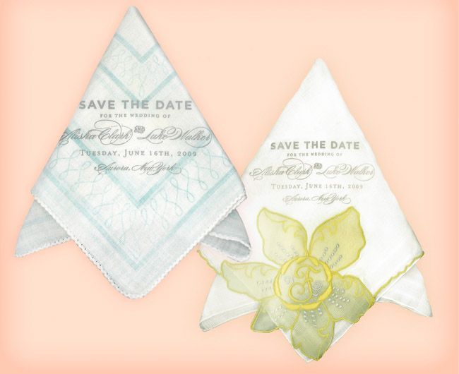 save the date handkerchief