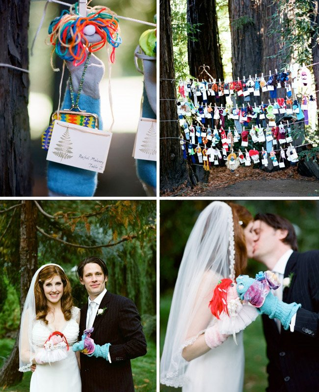 sock puppets name cards wedding