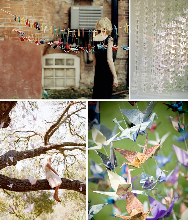 Hanging paper cranes and more at your wedding green for 1000 paper cranes wedding decoration