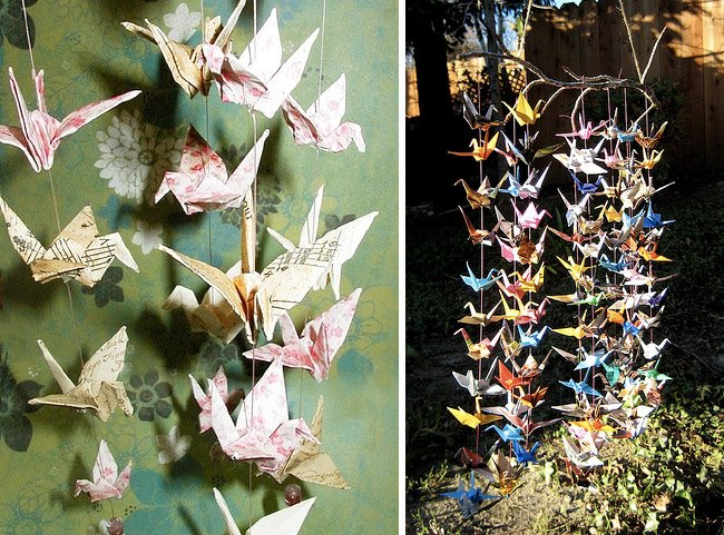 Hanging paper cranes and more at your wedding for 1000 paper cranes wedding decoration