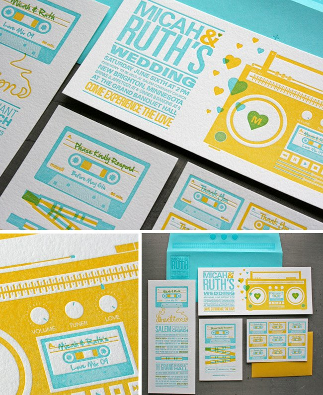 Mix tape boom box bold colors cool wedding invitations