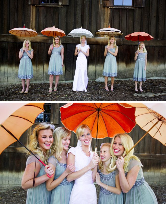 bridal party umbrellas