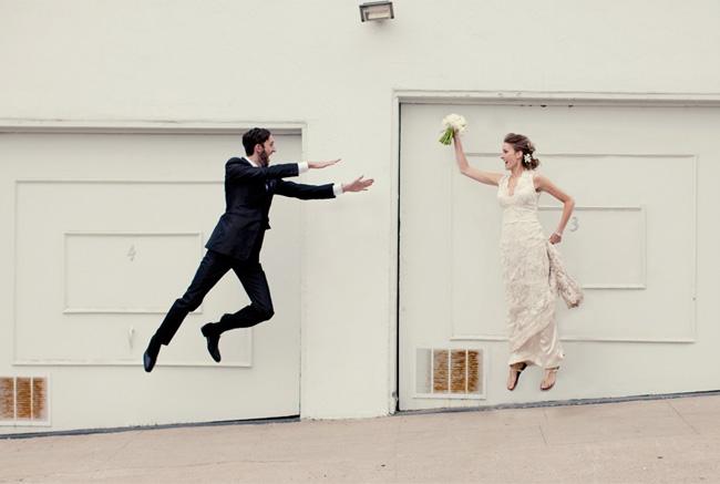 floating bride and groom