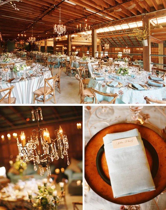 blue tables wedding