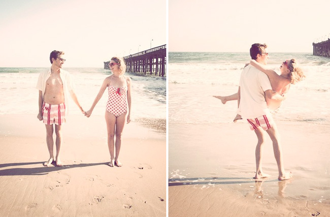 vintage beach engagement