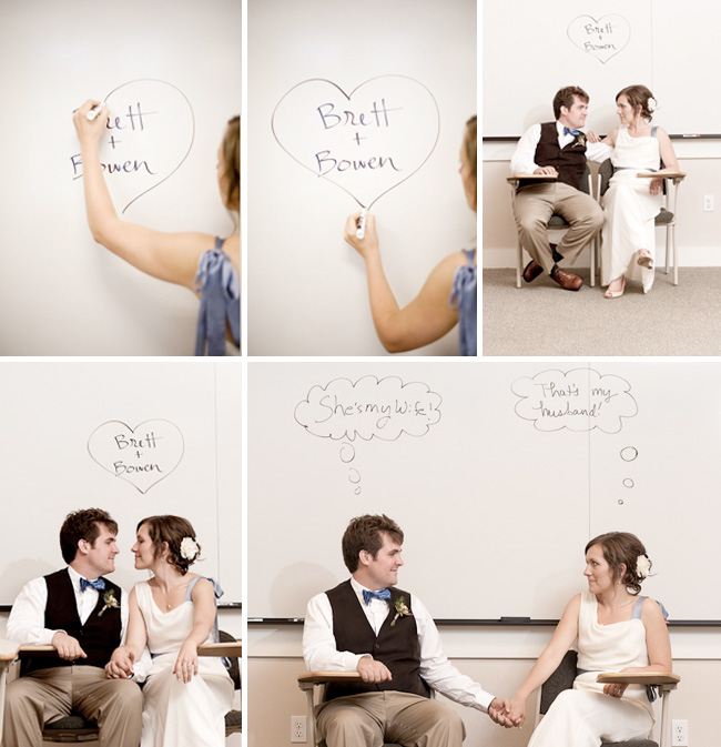 whiteboard bride and groom