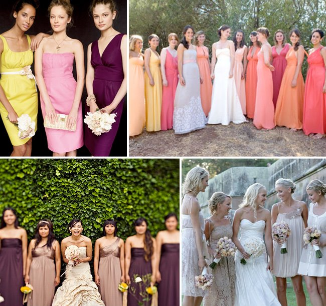 Wedding trend non matching bridesmaids dresses green for J crew beach wedding dress
