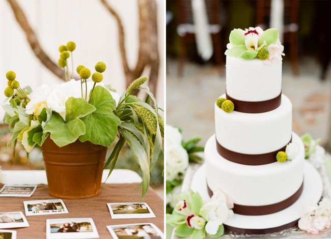 white and brown wedding cake