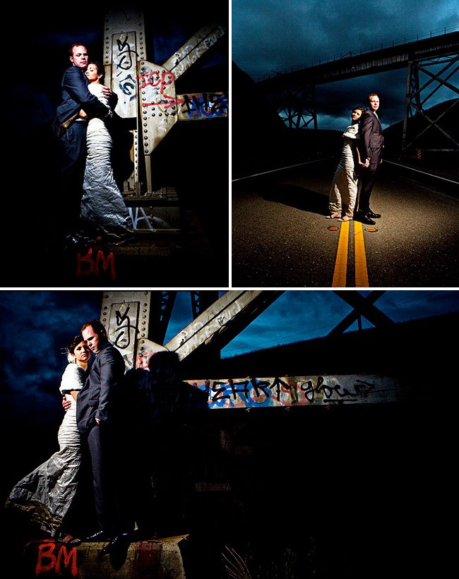night graffiti bride and groom