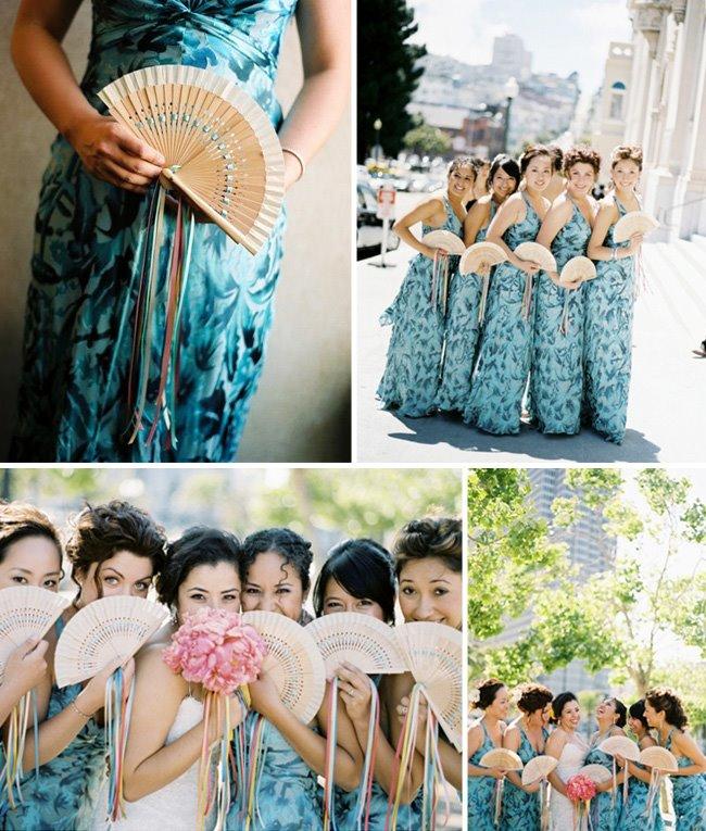 bridesmaids wearing floral dresses
