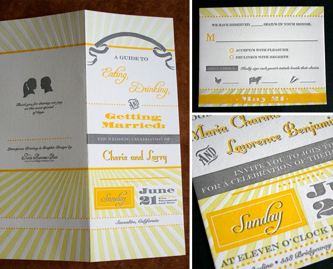 yellow wedding invites