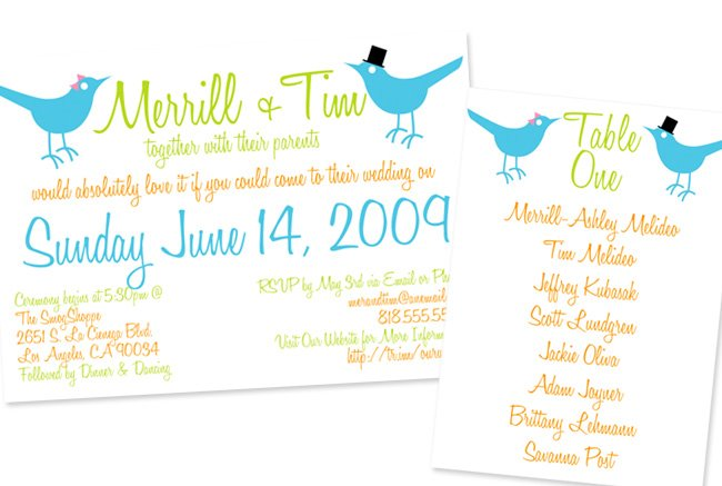 bird inspired invitation
