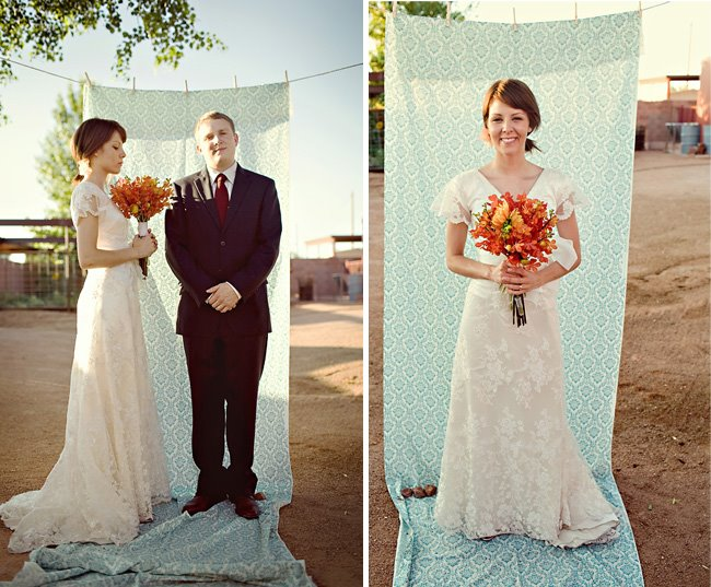 bride and groom fabric backdrop