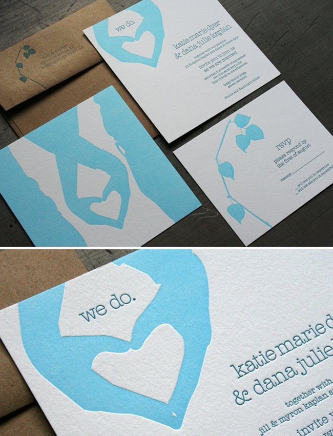 hands become hearts for wedding invitations
