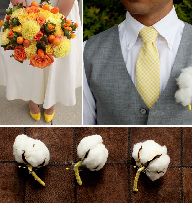 yellow and orange bouquet, yellow tie, cotton boutonnieres