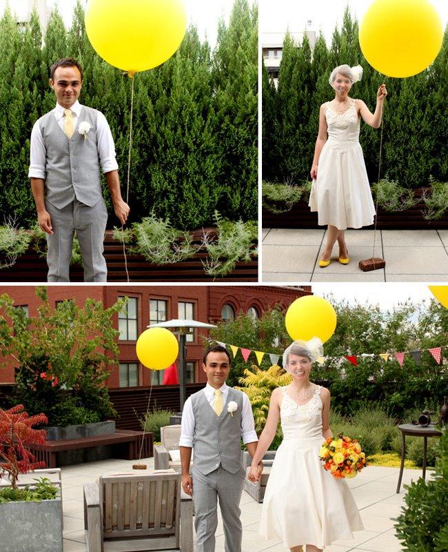 big yellow balloons