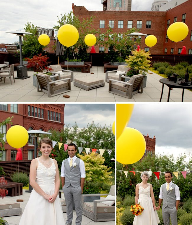 big yellow balloons and decor