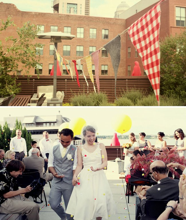 rooftop wedding exit