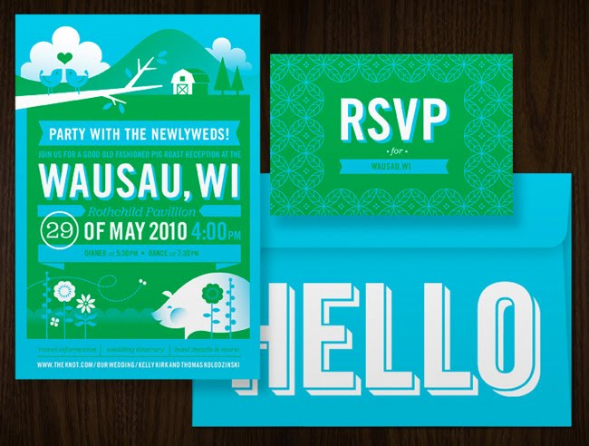 green and blue invitations