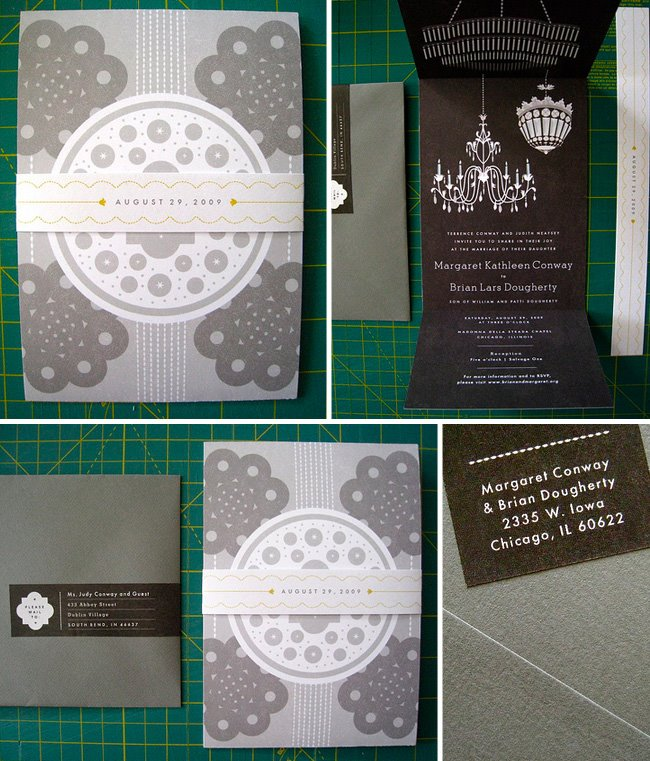 black and gray wedding invitation