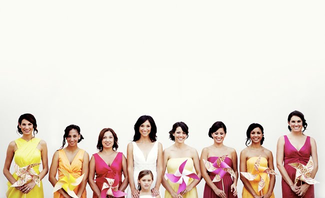 bridesmaids holding pinwheels