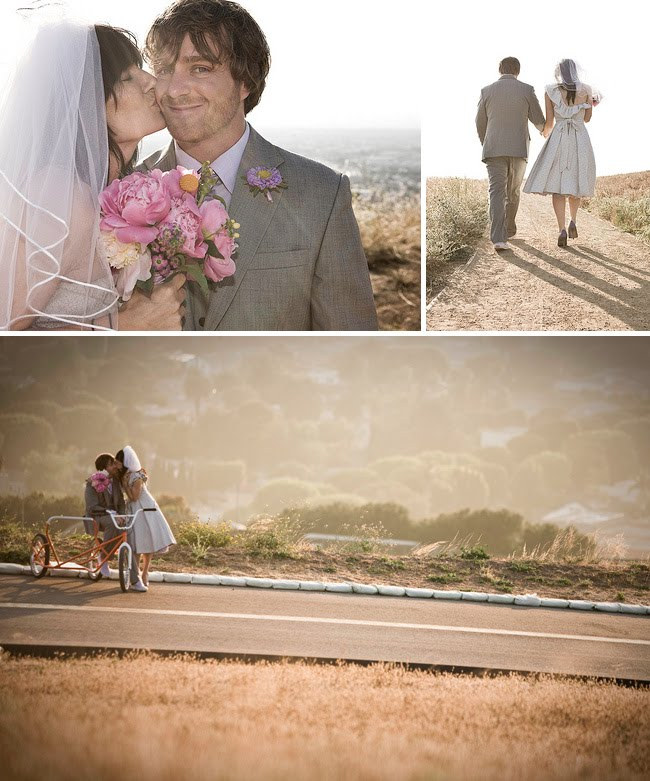 outdoor wedding with a bike