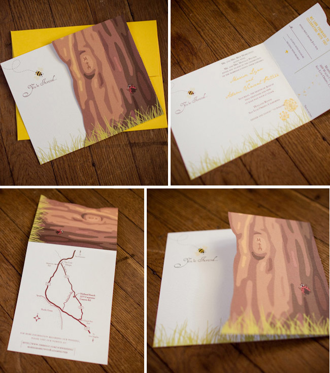 bee wedding invitation