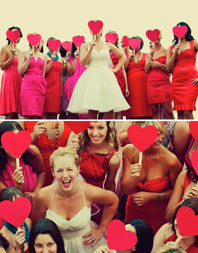 bridesmaids holding hearts