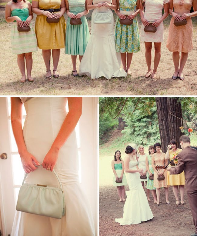 bridesmaids holding clutches