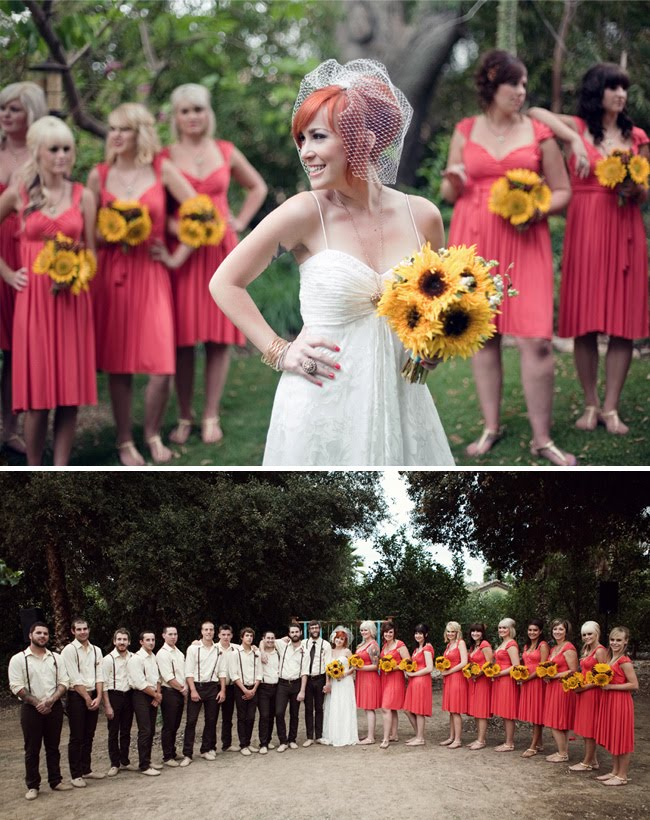 wedding party with sunflower bouquets