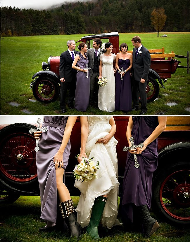 bridesmaids in wellies