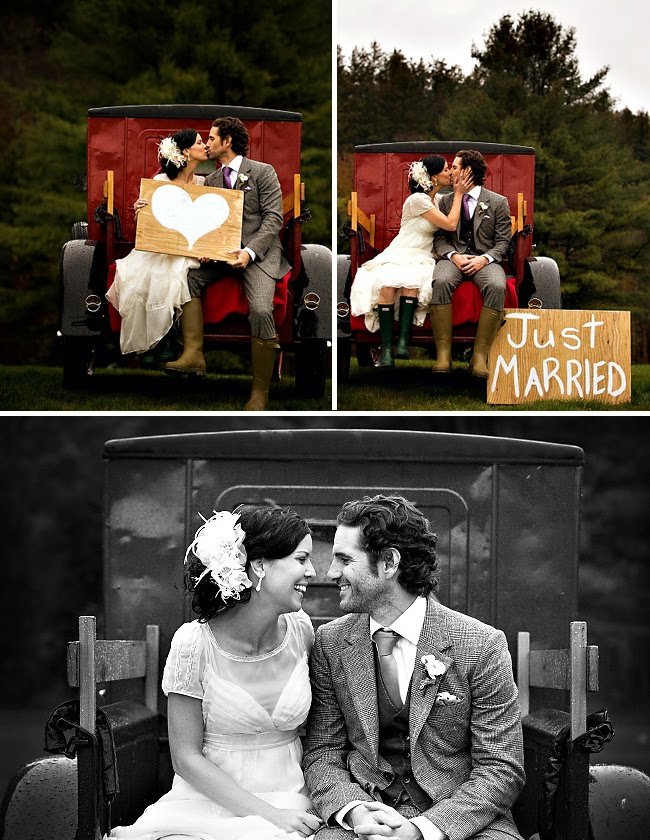 bride and groom on truck