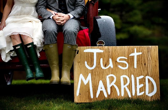 Just Married Sign with Wellies