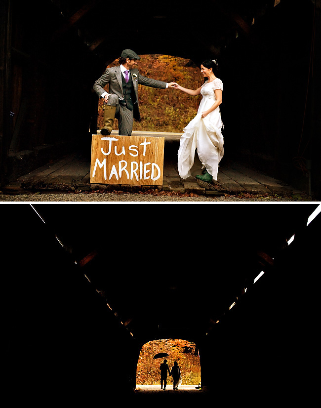 Bride and Groom in tunnel