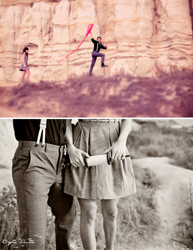 vintage engagement with a kite