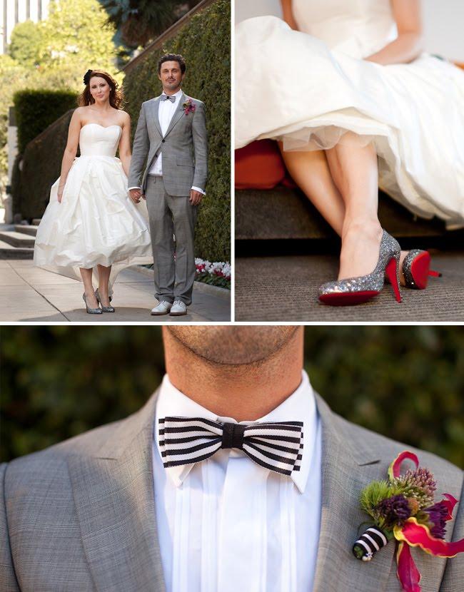 black and white stripe wedding dress