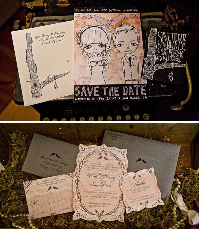 illustrated wedding invitations by Kelli Murray