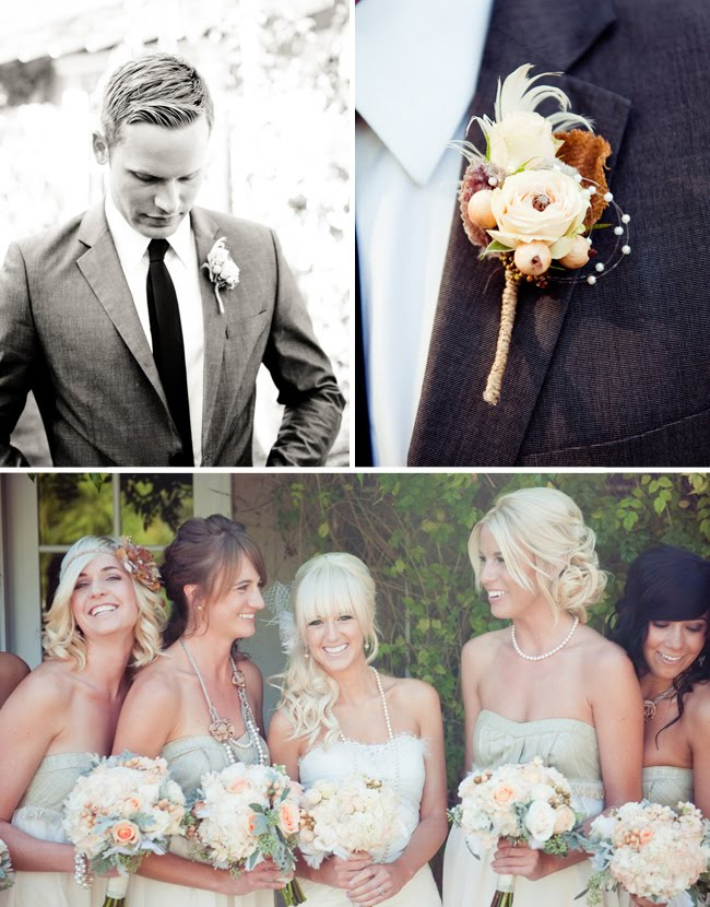 groom in black and white, groom's boutonniere, bridesmaids