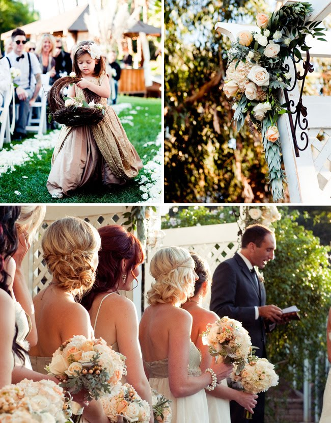 vintage flower girl, vintage backyard wedding san diego