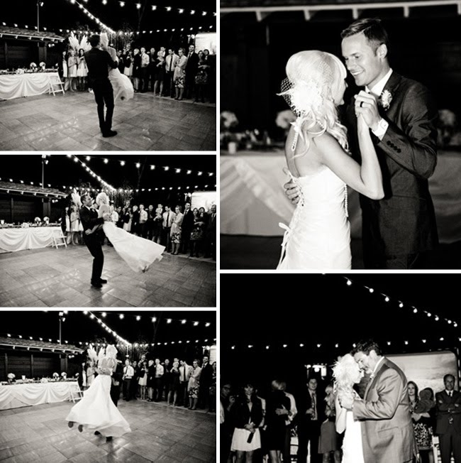 bride and groom first dance, black and white