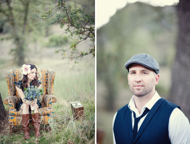 engagement photos with chair