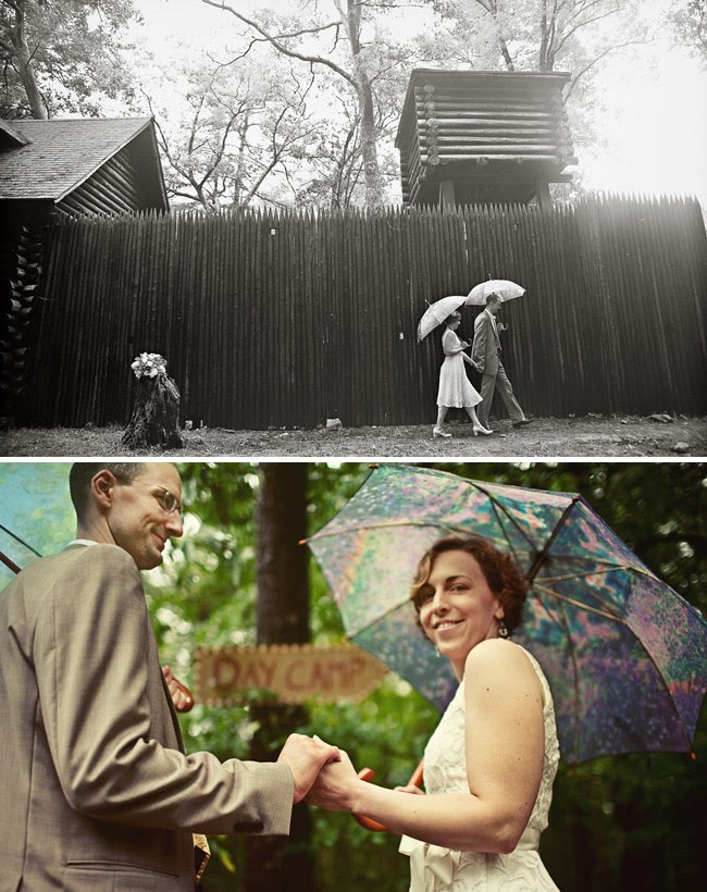 rainy camp wedding