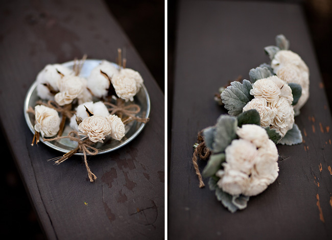 cotton and balsa wood boutonniere