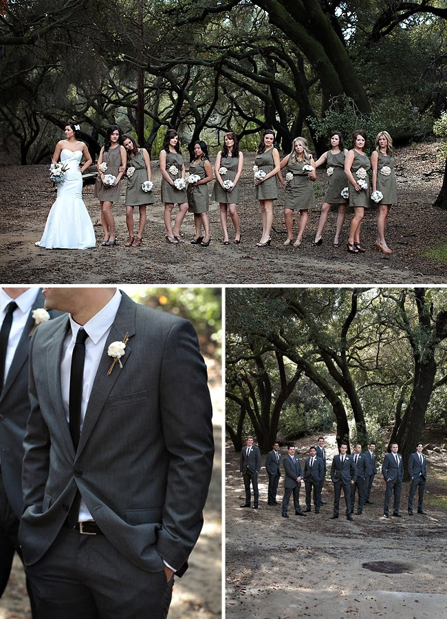 woodland wedding bridal party